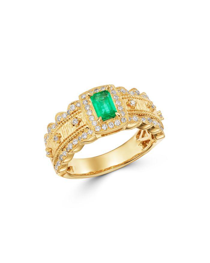 Bloomingdale's Emerald & Diamond Ring in 14K Yellow Gold - 100% Exclusive  | Bloomingdale's