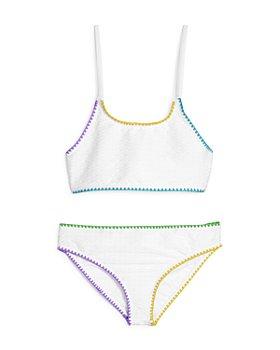 Limeapple - Girls' Mejia Textured Rainbow-Trim Two-Piece Swimsuit - Big Kid