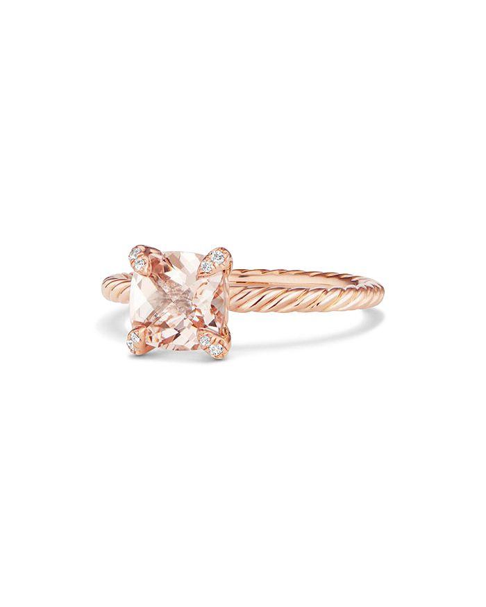 David Yurman - Chatelaine® Ring with Morganite and Diamonds in 18K Rose Gold
