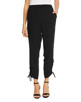 CeCe - Solid Ruched-Ankle Pants
