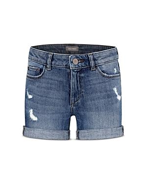 DL1961 Girls\\\' Cotton-Blend Piper Distressed Cuffed Denim Shorts - Big Kid-Kids