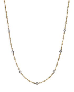 Roberto Coin - Roberto Coin 18K Yellow and White Gold Diamond Station Necklace, 16""