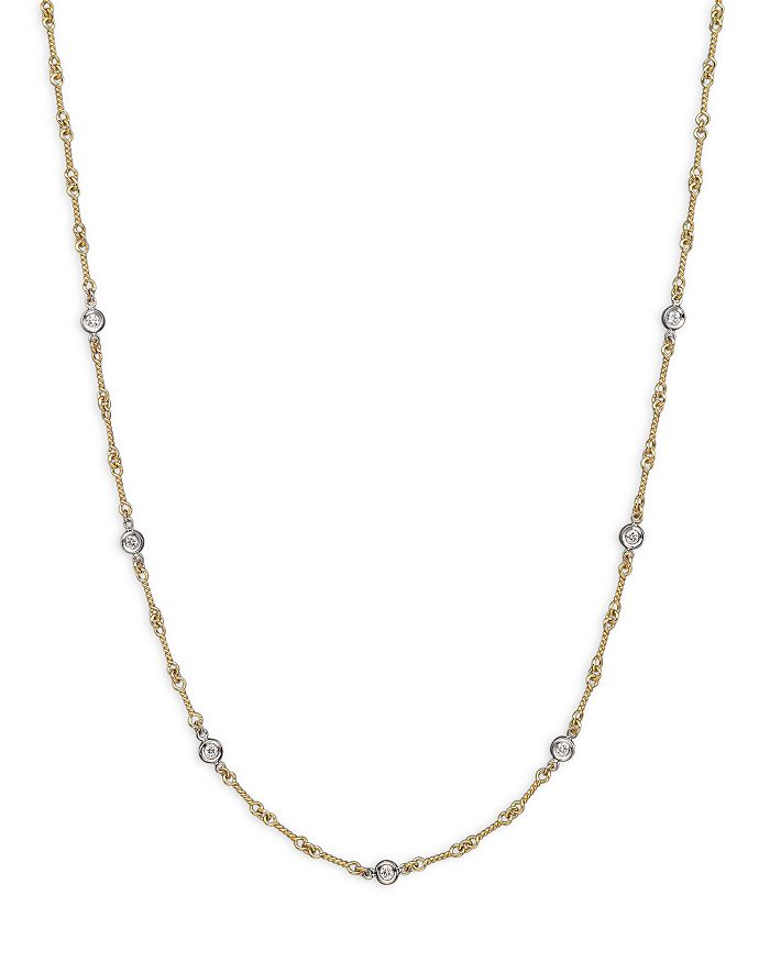 """Roberto Coin - Roberto Coin 18K Yellow and White Gold Diamond Station Necklace, 16"""""""