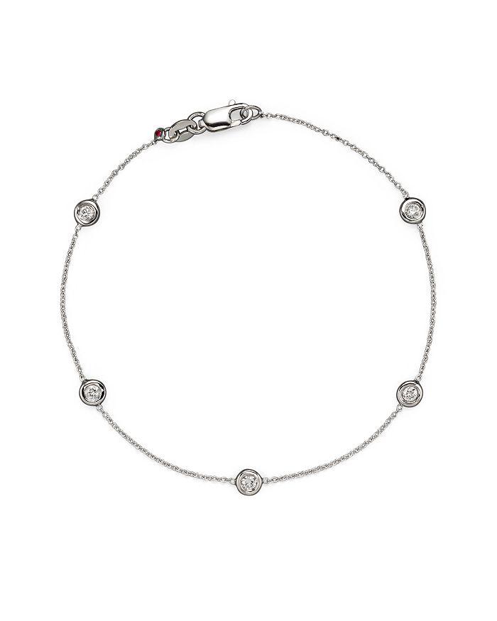 Roberto Coin - 18 Kt. White Gold Bezel-Set Diamond Bracelet