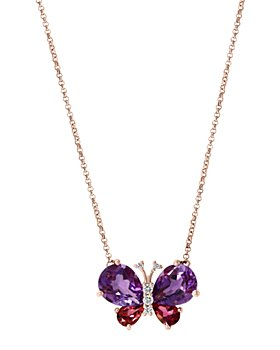 """Bloomingdale's - Multi-Gemstone & Diamond Butterfly Pendant Necklace in 14K Rose Gold, 18""""L - 100% Exclusive"""
