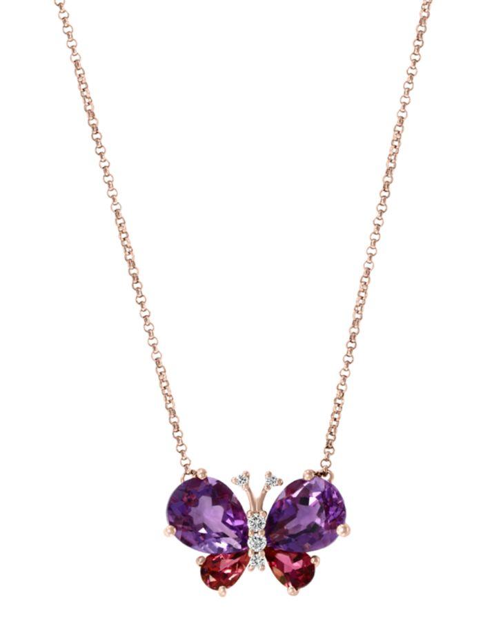 "Bloomingdale's Multi-Gemstone & Diamond Butterfly Pendant Necklace in 14K Rose Gold, 18""L - 100% Exclusive  | Bloomingdale's"