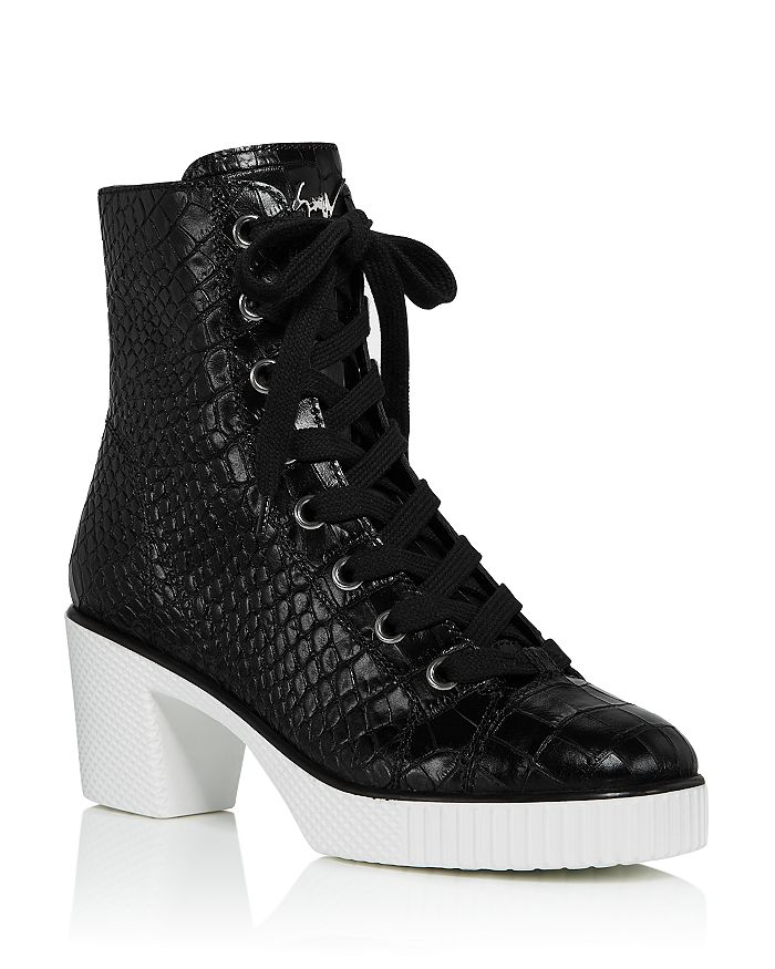 Giuseppe Zanotti Women's Crocodile-embossed High-heel Platform Boots In Nero