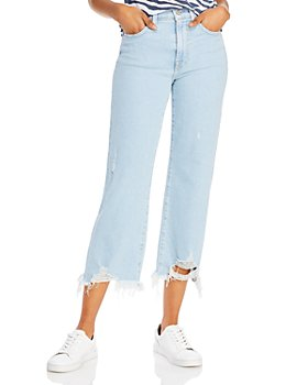 7 For All Mankind - Alexa Cropped Ripped-Hem Jeans in Snowbird - 100% Exclusive