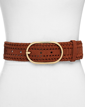 Frame Grand Oval Suede Braided Belt-Women