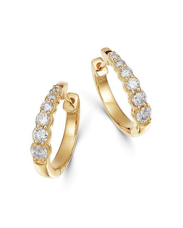 Bloomingdale's - Diamond Graduated Hoop Earrings in 14K Gold, 0.5 ct. t.w. - 100% Exclusive