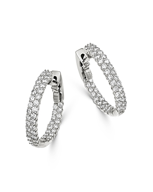 Bloomingdale's Diamond Double Row Inside Out Hoop Earrings in 14K White Gold - 100% Exclusive