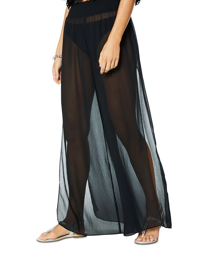 Ramy Brook Athena Textured Swim Cover-up Pants In Black