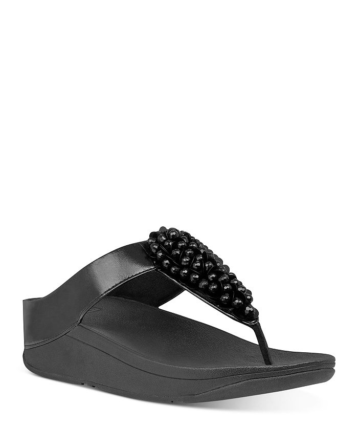 FitFlop - Women's Fino Embellished Thong Wedge Sandals