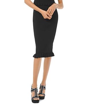 Michael Michael Kors Midi Ribbed Ruffle-Hem Skirt