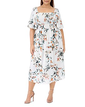 B Collection by Bobeau Curvy - Mathilde Floral Print Smocked Dress