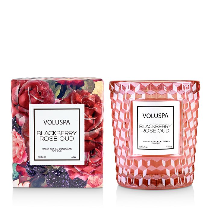 Voluspa Blackberry Rose & Oud Boxed Classic Textured Glass Candle In Pink