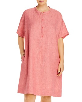 Eileen Fisher Plus - Organic Linen Mandarin Collar Dress