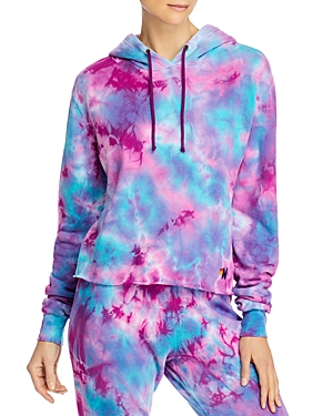Aviator Nation Cropped Tie-Dyed Hoodie