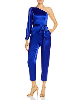 Aidan by Aidan Mattox - One-Shoulder Belted Jumpsuit