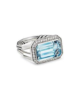 David Yurman - Sterling Silver Novella Statement Ring with Gemstones and Pavé Diamonds