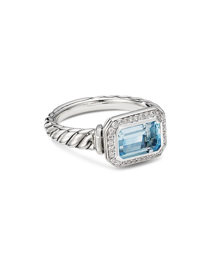 David Yurman - Sterling Silver Novella Ring with Gemstone and Pavé Diamonds