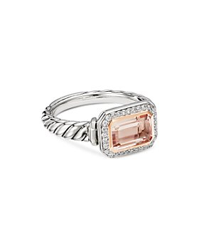 David Yurman - Sterling Silver Novella Ring with Morganite, Pavé Diamonds and 18K Rose Gold