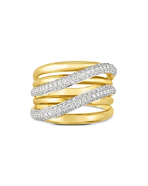 Roberto Coin 18K Yellow Gold Diamond Double Crossover Statement Ring