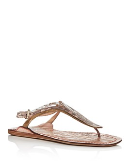 Chloé - Women's Carla Mixed-Pattern Slingback Thong Sandals