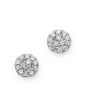 Meira T - 14K White Gold Diamond Cluster Disc Stud Earrings