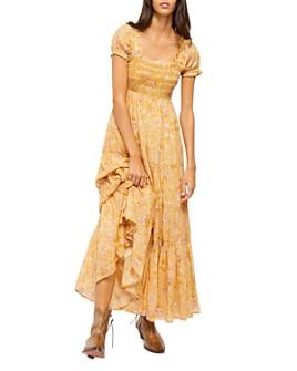 Free People - Getaway Printed Smocked-Bodice Dress
