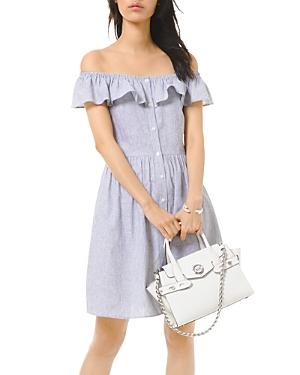 Michael Michael Kors Wide Neck Button-Up Mini Dress-Women