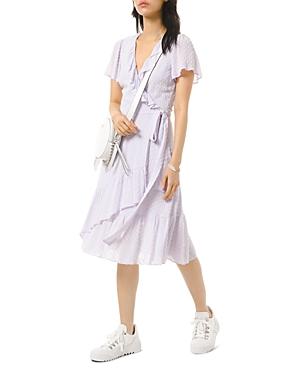 Michael Michael Kors Textured Jacquard Ruffle Wrap Dress-Women