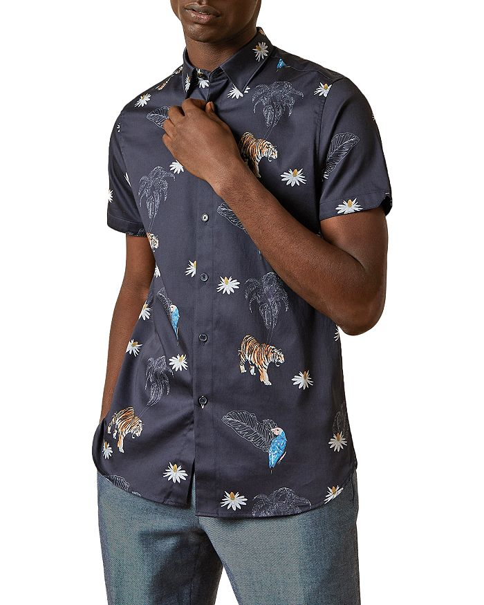 Ted Baker - Cotton-Blend Animal-Print Slim Fit Sports Shirt