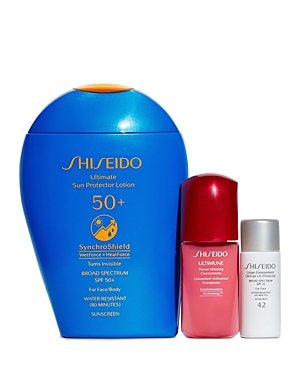 What It Is: Active lives call for active skin care. Supercharge your morning routine with this three-piece set of skincare products featuring Shiseido\\\'s Spf 50+ lotion for a lightweight and invisible protective veil that\\\'s strengthened by heat and water. Set Includes: - Ultimate Sun Protector Lotion Spf 50+ 5 oz. (Full Size) - Ultimune Power Infusing Concentrate 0.33 oz. - Urban Environment Oil-Free Uv Protector Spf 42 0.23 oz.