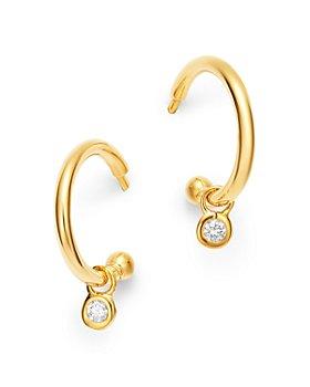Bloomingdale's - Diamond Drop Huggie Hoop Earrings in 14K Gold - 100% Exclusive