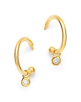 Bloomingdale's - 14K Yellow Gold Diamond Drop Huggie Hoop Earrings in 14K Yellow Gold - 100% Exclusive