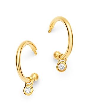 Diamond Drop Huggie Hoop Earrings in 14K Yellow Gold