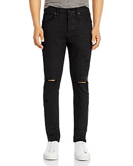 Purple Brand - P001 Cotton-Blend Distressed Skinny Fit Jeans in Black Stripe