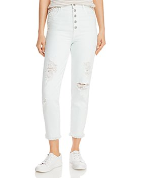 J Brand - Heather Ripped Button-Fly Jeans in Hydrosphere Destruct