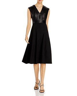 Narciso Rodriguez - Leather-Trim Fit & Flare Dress