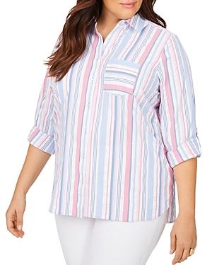 Millie Seersucker Striped Moisture Wicking Shirt With Upf