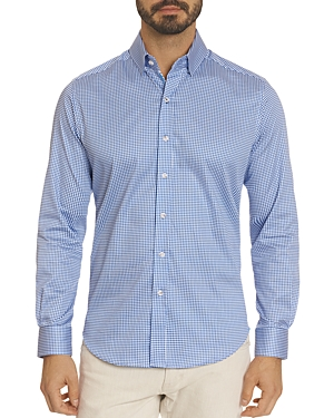 Robert Graham Mills Cotton Stretch Mini-Check Slim Fit Button-Down Shirt