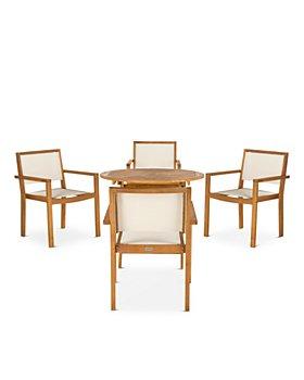 SAFAVIEH - Chante Round Table 5-Piece Indoor/Outdoor Dining Set