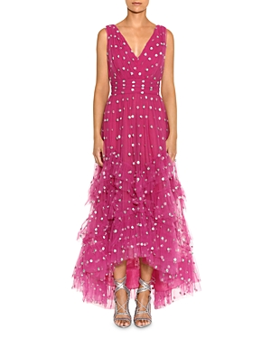 Marchesa Notte SEQUINED-DOTS RUFFLED GOWN
