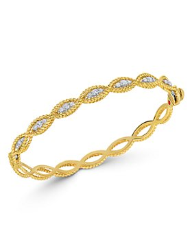 Roberto Coin - 18K Yellow & White Gold New Barocco Diamond Bangle Bracelet