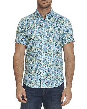 Robert Graham Fuller Linen-Blend Magnolia Print Slim Fit Button-Up Shirt
