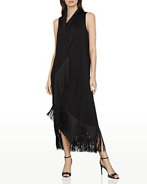 Fringe Trimmed Asymmetrical Maxi Dress