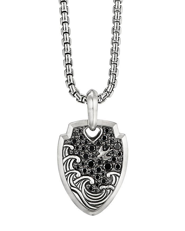 David Yurman - Waves Shield Pendant with Pavé Black Diamonds