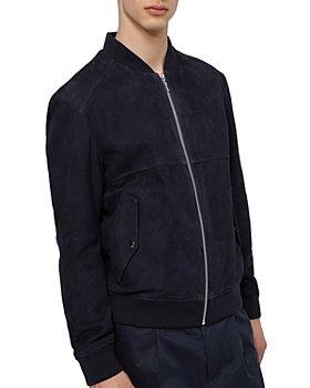 HUGO - Slim Fit Dark Blue Leather Bomber Jacket