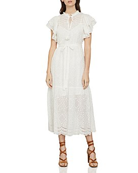 BCBGMAXAZRIA - Eyelet Ruffled Cotton Midi Dress